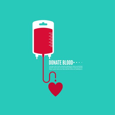 rh: Abstract background with blood bag. Icon donation. Vector image help the sick and needy. dropper with drop with  heart