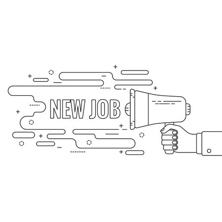 new employees: Hand holding a megaphone. Icon  loudspeaker with linear banner. recruitment, headhunting, searching employees. New job, hr. Vector