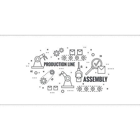 Thin Line Art Design. Lineaire vector set iconen en elementen. Concept Productie lijn, Vergadering, ontwikkeling, robotachtige automatische transportband productie.
