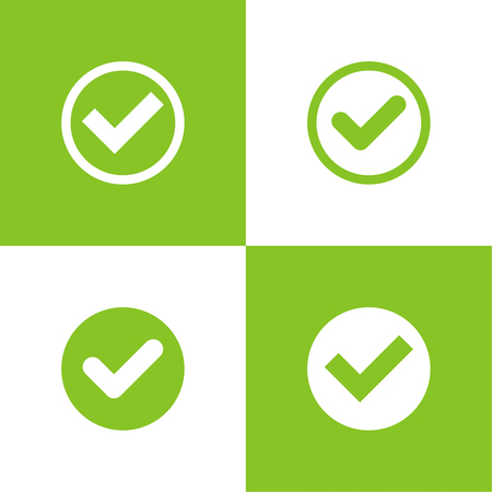 application sign: Set of vector buttons with check marks or ticks. checkbox. Web and mobile applications. acceptance positive passed voting. Green. flat design