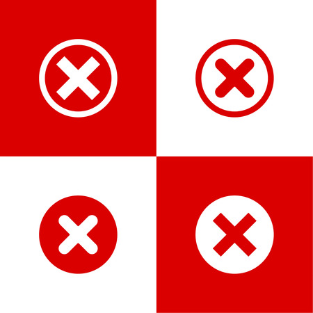 denial: Set of vector buttons with check marks, ticks, x. checkbox. Web and mobile applications. rejection and form of access denial, refusing. red. flat design