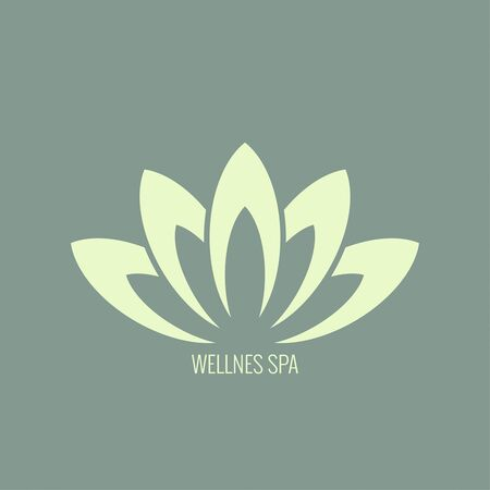 massage herbal: Abstract vector element. Lotus flower. Icon for beauty, healthcare, wellness, fashion, cosmetic, perfume, yoga emblem, herbal product spa massage salon delicate color