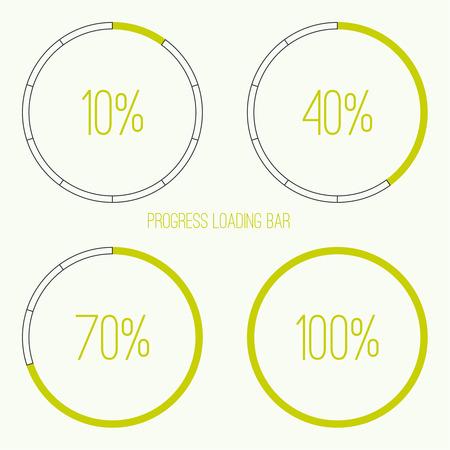 preloader: Set of vector downloaders. progress bar and loading icon. ui preloader web elements. Percent loading segments. Vector loading percentage. Round  circular loader bar