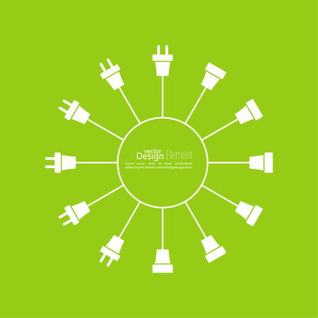 와이어 플러그와 소켓 추상적 인 배경입니다. 개념 연결, 분리, 전기. 아이콘 와이어 플러그