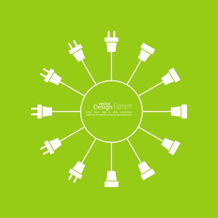 Résumé de fond avec bouchon de fil et la douille. connexion Concept, la déconnexion, l'électricité. bouchon de fil Icône Banque d'images - 58706863