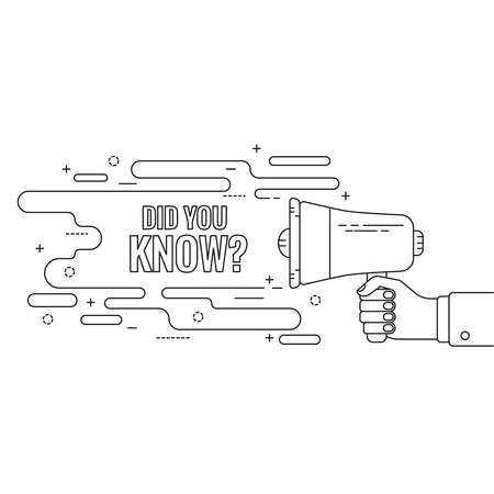 did you know: Hand holding a megaphone. Icon loudspeaker with linear banner, text box. Notification through the speaker, advertisement bullhorn. Vector. Did you know