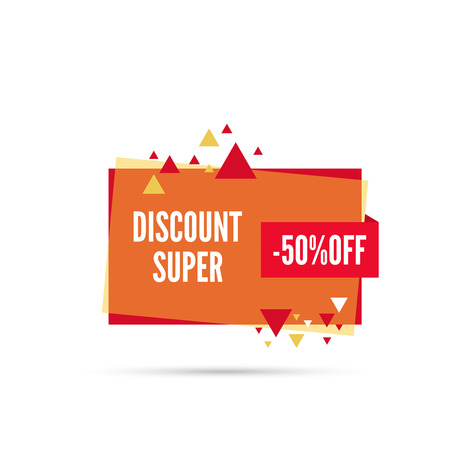 special price: Sale banner. Vector tag. special offer, discount, price 50 percentage  Super discount Illustration