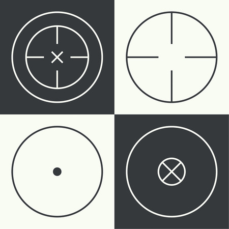 gunsight: Set of different types of crosshair. Vector icon simple target. icons. Aims templates. Shooting marks and cross hairs.