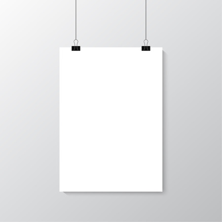 hanging banner: Image vector white poster hanging on binder. Grey wall with mock up empty paper blank. Layout mockup. Vertical template sheet.