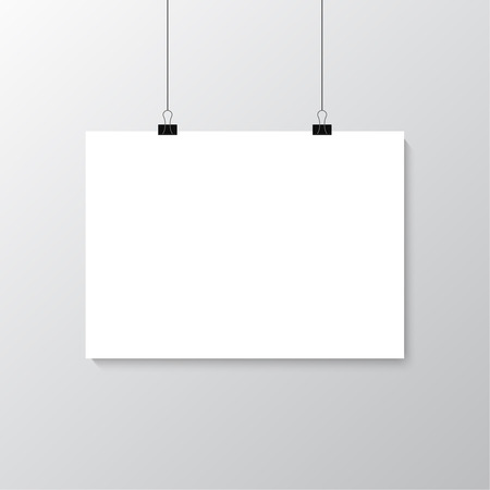 Image vector white poster hanging on binder. Grey wall with mock up empty paper blank. Layout mockup. Horizontal template sheet. Illustration
