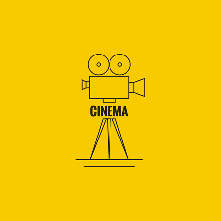 cinematic: Movie projector vector illustration.  Cinematic camera. Linear icon. Line art