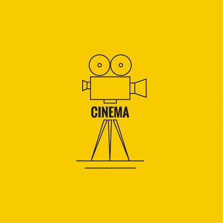 cinematic: Movie projector vector illustration.  Cinematic camera. Linear icon. Line art