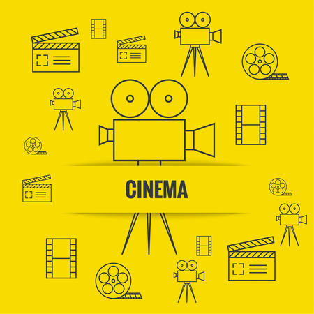 film production: Abstract background with cinema camera, film reel,  filmstrip clapboard, clapper. The concept film production, movie making. Layout, flyer, poster for announcement Illustration