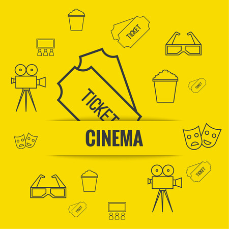 cinematograph: Abstract background with popcorn, camera, 3D glasses and  tickets. The concept of a cinema and watching a movie. Layout, flyer, poster for announcement