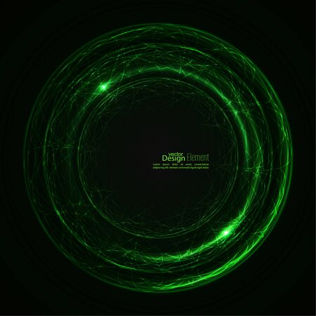 quantum: Abstract background with luminous swirling backdrop. Intersection curves. Glowing spiral. The energy flow tunnel.  Lights vector frame. green, jade, malachite.  quantum Illustration