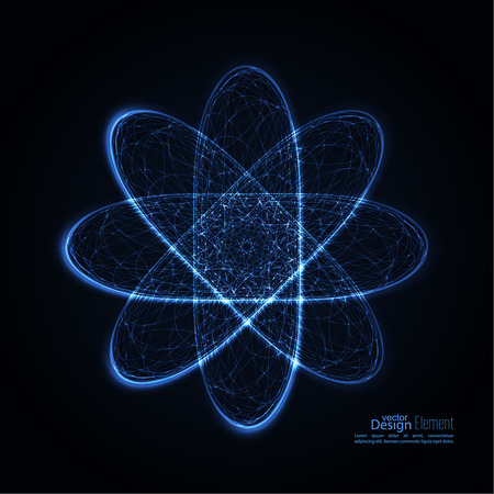 quantum: Abstract background with with glowing paths of the molecules, of electrons and protons. Science concept. Vector backdrop.  Particle orbits.  quantum