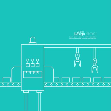 grasp: Thin Line Art Design. Linear vector and elements.  Concept Production line, Assembly, development, robotic automatic conveyor manufacture.