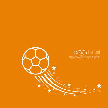 pelota de futbol: Icono del vector de un balón de fútbol. fútbol. Resumen de antecedentes vector de imagen de volar el balón de fútbol. diseño de folleto, volante, cubierta, vista previa, anuncio, informe. rastro de estrella