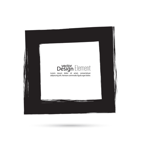 foto: Hand drawn square, photo, foto frame. Text box smears. Vector Black border. Grunge banner