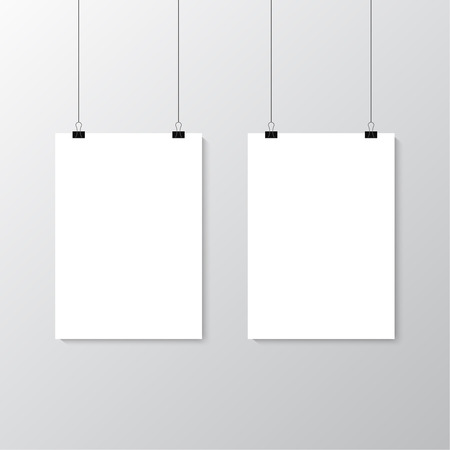 hang up: Image vector white poster hanging on binder. Grey wall with mock up empty paper blank. Layout mockup. Vertical template sheet.