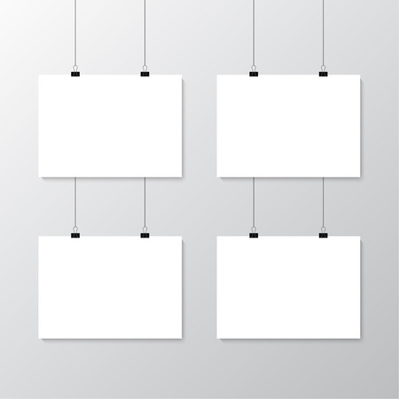 Image vector white poster hanging on binder. Grey wall with mock up empty paper blank. Layout mockup. Horizontal template sheet. Vettoriali