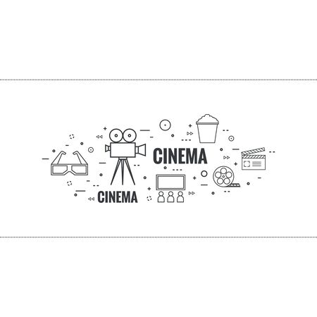 watching 3d: Abstract background with popcorn,  camera, film reel, clapboard, 3D glasses and  tickets. The concept of cinema and watching  movie. Layout, flyer, poster for announcement. thin line.
