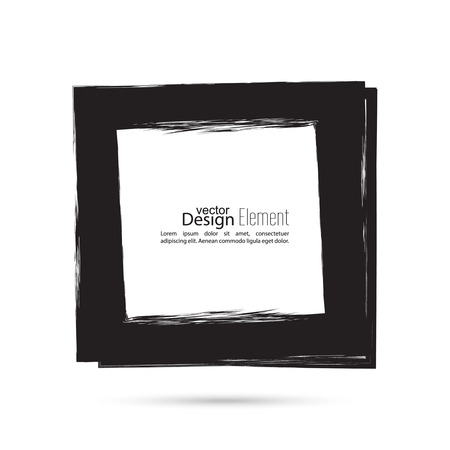 uneven edge: Hand drawn square, photo, foto frame. Text box smears. Vector Black border. Grunge banner
