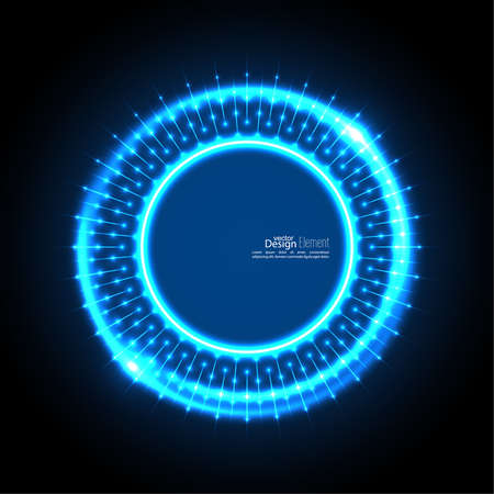 ultramarine: Abstract techno background with spirals and rays with glowing particles. Tech design. Lights vector frame. Glowing dots.  blue, cerulean, cobalt, indigo, sapphire, ultramarine. Neon ring
