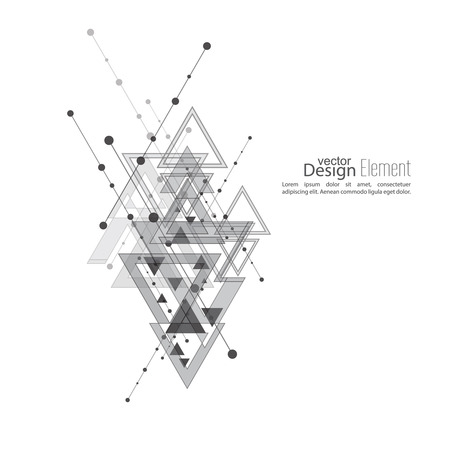 geometric lines: Abstract vector background with geometric shapes intersecting. Diagonal lines with dots and translucent triangles. Ethnic, mystical symbol. hipster pattern. Black and white. Cosmic design. gray