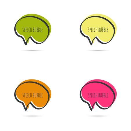 bubble speech: Set hand drawn speech bubble. Vector frame. Text box. Multicolor, crimson, maroon, orange green yellow