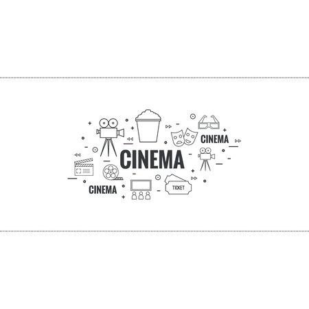 sign maker: Abstract background with popcorn,  camera, film reel, clapboard, 3D glasses and  tickets. The concept of cinema and watching  movie. Layout, flyer, poster for announcement. thin line.