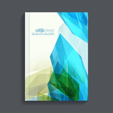 flier: Magazine Cover with colored crystals, trellis structure. For book, brochure, flyer, poster, booklet, leaflet, postcard flier headline annual report  journal vector Illustration