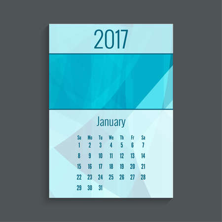 agenda year planner: Monthly calendar for 2017. Planner. Template grid. Color blue.  Week Starts Sunday. Months January