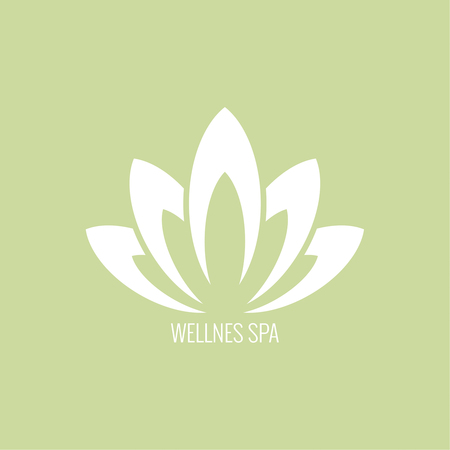 wellness environment: Abstract vector element. Lotus flower. Icon for beauty, healthcare, wellness, fashion, cosmetic, perfume, yoga emblem, herbal product spa massage salon delicate color