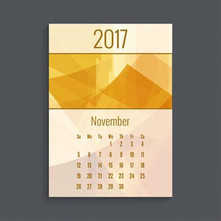 monthly planner: Monthly calendar for 2017. Planner. Template grid. Color orange.  Week Starts Sunday. Months November Illustration