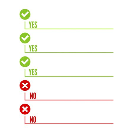 consent: To do list. Lines with check boxes. checklist for note. consent. checkmark. election and voting. yes, no mark. Todo tick. Vector