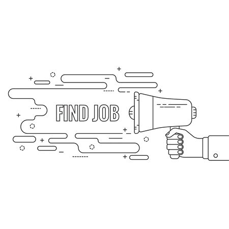 amplify: Hand holding a megaphone. Icon  loudspeaker with linear banner. recruitment, headhunting, searching employees. Vector. Find job Illustration