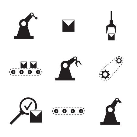 Vektor-Icons. Förderband, Roboter automatisierten Maschinen, Montageprozess, Qualitätskontrolle, Verpackung, Verladung, Getriebe angetrieben. Produktion Herstellung von Produkten Vektorgrafik