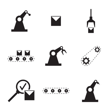Zestaw ikon wektorowych. Przenośnik taśmowy, automatyka automatyczna, proces montażu, kontrola jakości, pakowanie, załadunek, przekładnie zębate. Produkcja Produkcja wyrobów Ilustracje wektorowe