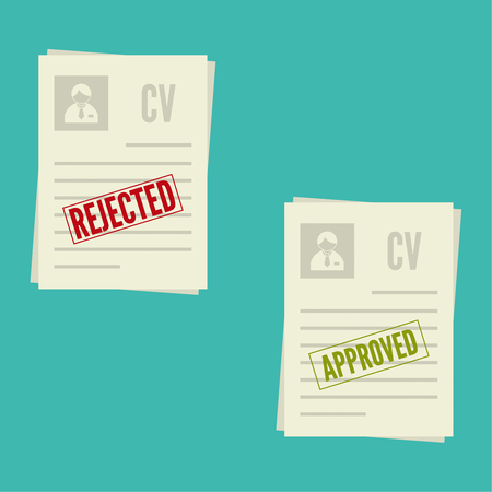 denial: Pack sheets paper with stamp of rejected, approval. Summary with  mark about refusal,  acceptance. Cv denial, approved. resume, personal file