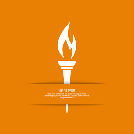 torch flame: Vector icon of  torch with a flame. Orange background with bright torch. layout for booklet, flyer, cover, preview, announcement, report.