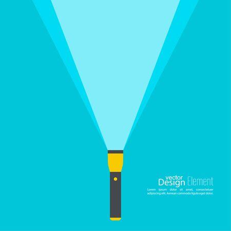pocket flashlight: Vector background with flashlight. Vector flat flashlight illustration. The concept of search optimization, seo. Pocket flashlight icon.