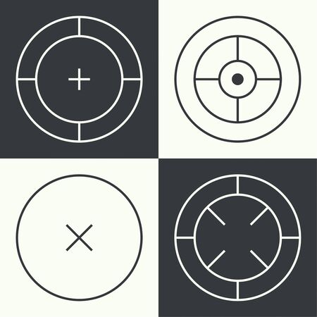 reticle: Set of different types of crosshair. Vector icon simple target. icons. Aims templates. Shooting marks and cross hairs.