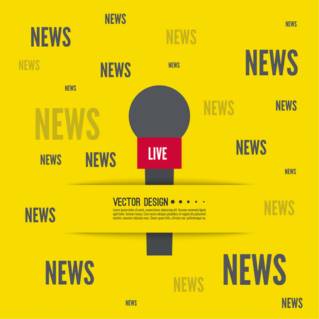 hot news: Journalism concept. Live news template with microphone. Symbol breaking news on TV and radio. Journalist, interview, reporter, press, interviewer, mass media, paparazzi mic Vector