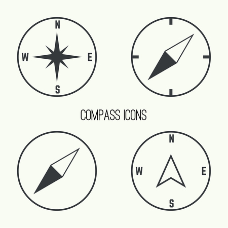 compass rose: Set of vector icons with a compass and gps pointers.  The wind rose and compass arrow