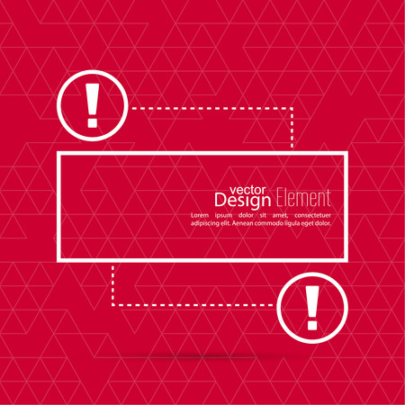 emphasis: Exclamation mark blank template. Attention sign icon. Empty vector form.  information, text box, textbox on red background. Speech Bubbles.