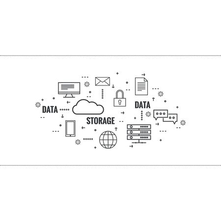 network server: Network cloud computing. Web hosting and cloud technology. Database protection security. Global data transfer and storage  server. Communication technologies connecting different devices. Illustration