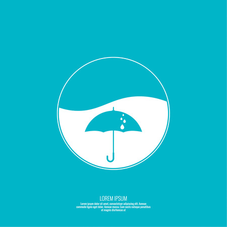 waterproof: Abstract background with umbrella. Flat design. Vector element. Sphere with the liquid and drops of water. Waterproof icon.