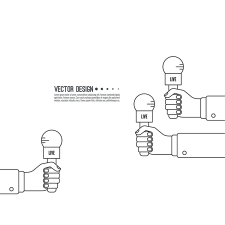 mics: Journalism concept. Live news template with microphone. Symbol breaking news on TV radio. Journalist holding mic. interview, reporter, press, interviewer, media, paparazzi. Vector Linear design