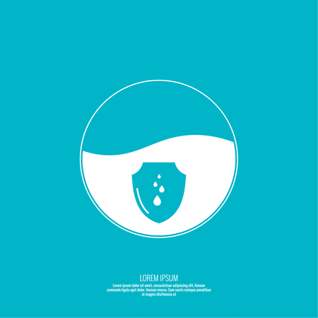 waterproof: Abstract background with shield. Flat design. Vector element. Sphere with the liquid and drops of water. Waterproof icon. Protection and defense.